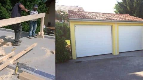 Construction d'une toiture traditionnelle sur un garage préfabriqué