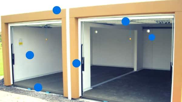 Garage double en béton communicant : vue intérieure