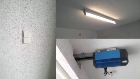 Interrupteurs, néon et motorisation de porte de garage