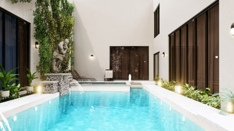 Piscine avec fontaine intégrée dans maison moderne